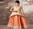 Sensuous orange and cream jacquard party wear gown for girls