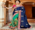 Lovely navy blue satin ceremonial wear half and half saree