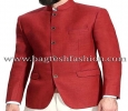 Red Jute Jodhpuri Wedding Suit